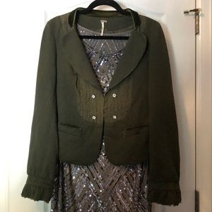 Free People Military Green Cotton Lace Blazer 8